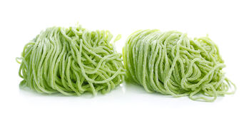 Jade noodle, vegetable noodles, green noodles on white Royalty Free Stock Image