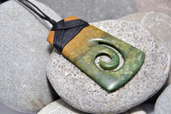 Jade pendant. Jade adze pendant made from Westland pounamu or greenstone, West Coast, South Island, New Zealand Stock Image