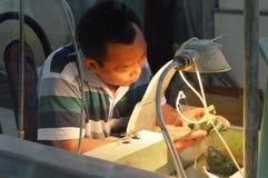 Jade processing Stock Photos