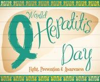 Jade Ribbon en la forma del hígado que conmemora el día de la hepatitis del mundo, ejemplo del vector ilustración del vector