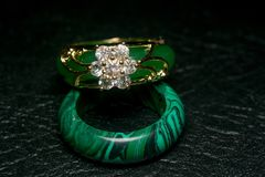 Jade Ring with Diamonds stock images