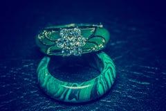 Jade ring with diamonds stock photography