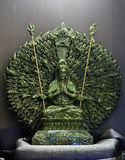 Jade sculpture of Guanyin thousand hands, Goddess of Mercy in Ch stock image