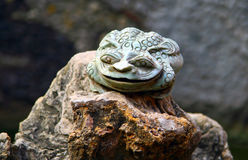Jade Toad in the pond of chinese Taoist temple Royalty Free Stock Images