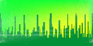 Jaded City. A jaded grunge cityscape in green with a green sky with ilumination Stock Photos