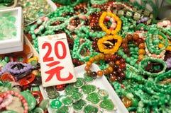 Jadejuwelen bij de Yaumatei-jademarkt, Hong Kong Royalty-vrije Stock Foto's
