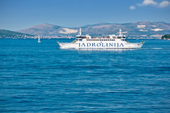 Jadrolinija ferry ship. Jadrolinija is a Croatian sea shipping company. It is a state-owned company and its main mission is connecting Croatian islands to the Stock Photo
