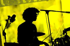 Jaega Mckenna Gordon playing drums in a live concert. Tenerife, Spain - June 11, 2017: Concert of famous trip hop band Morcheeba. Jaega Mckenna-Gordon playing Stock Photo