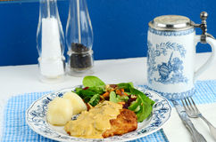 Jaegerschnitzel with Potato Dumpling Royalty Free Stock Photo