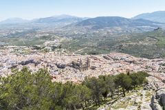Jaen city view from Santa Catalina Cross view point, Spain.  royalty free stock images