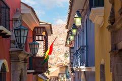 Jaen gata i La Paz, Bolivia Arkivfoton