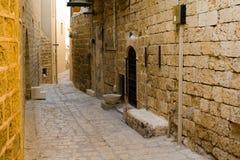 jaffa缩小的老街道 库存照片