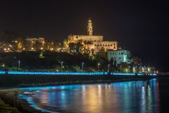 Jaffa bij nacht. Israël Stock Afbeeldingen