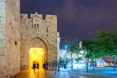 Jaffa brama przy nocą - Jerozolimski Stary miasto fotografia stock