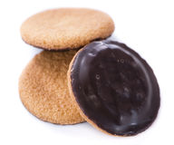 Jaffa Cakes (isolated on white) Royalty Free Stock Images