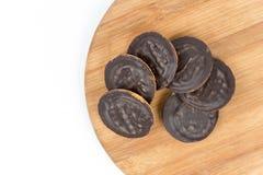Jaffa chocolate orange cookies tilled up like tower Stock Image