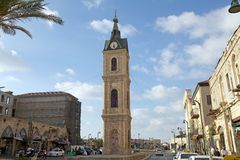 Jaffa clock tower. At the Jaffa town, Israel. The  is one of seven clock towers built in Israel during the Ottoman period royalty free stock images
