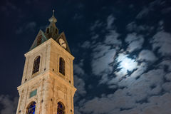 Jaffa Clock Tower under moonlight. In Tel Aviv, Israel Royalty Free Stock Image