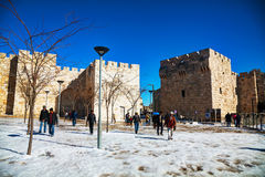 Jaffa gate in Jerusalem after a snow storm Royalty Free Stock Image