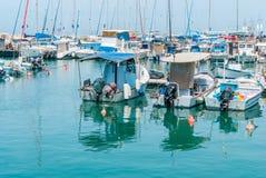 JAFFA - ISRAEL, am 10. April 2017: Alter Jaffa-Hafen, Tel Aviv, Israel Stockbild