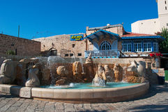 Jaffa, Old City, Israel, Middle East. The fountain of Kedumim Square on August 31, 2015. Kedumim Square is the centerpiece of the Old City of Jaffa stock photos