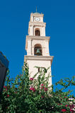 Jaffa, Old City, Israel, Middle East, St. Peter`s Church, bell tower. View of the bell tower of St. Peter`s Church in the Old City on August 31, 2015. St. Peter` royalty free stock images