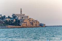 Jaffa old city Tel Aviv. TEL AVIV, ISRAEL - MAY 22, 2016: View of Jaffa old city at sunset from the beach Stock Images