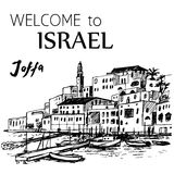 Jaffa old port - Israel. Old houses and small boats. Hand drawn ink pen Stock Photography