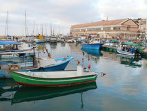Jaffa's port. View on yachts and boats anchored in a port royalty free stock photo