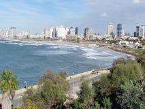 Jaffa sikt av promenaden och Tel Aviv 2012 Arkivfoton