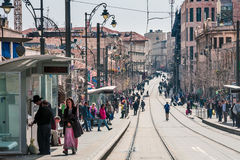 Jaffa Street in Jerusalem. Royalty Free Stock Photography