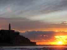 Jaffa Sunset, The Hill. Jaffa, Israel. Photo taken from the beach north of the city. A church can be seen on the top stock images