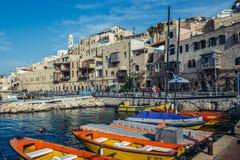 Jaffa in Tel Aviv. Tel Aviv, Israel - October 20, 2015. Boats and houses in Jaffa also called Japho or Joppa, former port city, now part of Tel Aviv Stock Images