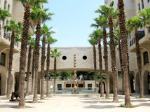 Jaffa Yerushalayim Ave palm trees and sculpture 2007 Royalty Free Stock Photo