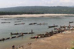 Jaflong-Steinpunkt bei Sylhet Stockfotografie