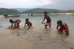 Jaflong-Steinpunkt bei Sylhet Lizenzfreies Stockbild