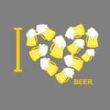 Jag älskar öl Symbolhjärta av ölkrus av öl Vektor Illustratio royaltyfri illustrationer