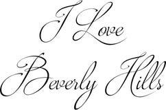 Jag älskar Beverly Hills California, textteckenillustration vektor illustrationer