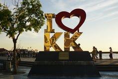 Jag älskar den Kk gränsmärket i Kota Kinabalu Arkivbild