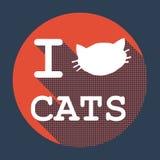 Jag älskar den plana retro tappningsymbolen för katter Royaltyfria Bilder