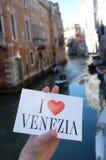 Jag älskar den Venezia vykortet Arkivbild