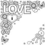 jag älskar dig Abstrakt bakgrund som göras av blommor, tangenter och läge, fjärilar och ordförälskelsen royaltyfri illustrationer