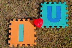 Jag älskar dig alfabetet med röd hjärta Royaltyfri Fotografi