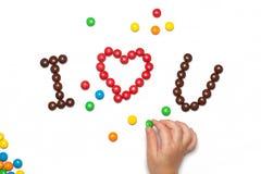 JAG ÄLSKAR DIG av chokladen - bestruken godis Arkivbild