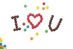 JAG ÄLSKAR DIG av chokladen - bestruken godis Royaltyfria Foton