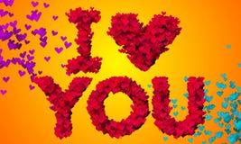 Jag älskar dig bakgrund för den partikelhjärtaShape 3D apelsinen Arkivfoton