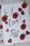 Jag älskar dig begreppet med blänkte hjärtor Royaltyfria Bilder