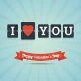 Jag älskar dig - det lyckliga valentins kortet för daghälsningen Royaltyfri Foto