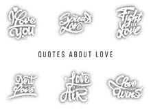 Jag älskar dig, fördelade, kampen för, gör den med, vad, alltid segrar Hand-bokstäver text stock illustrationer