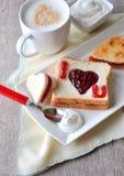 Jag älskar dig frukosten Fotografering för Bildbyråer